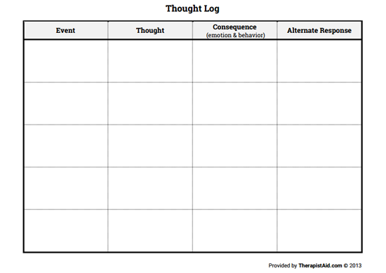 Thought Log Blank Preview  Cbt    Therapy Cbt And