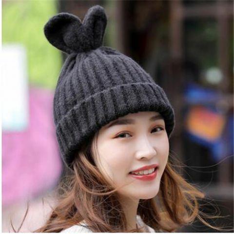 4b9a9aa9369 Winter knit beanie hat with ears for teenage girls fleece wooly hats ...