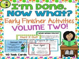 """These Early Finisher Task Cards are a great way to answer the common classroom question, """"I'm Done. Now What?"""" Engage your students with these great activities while building their creative thinking, sequencing, writing and cause and effect skil..."""