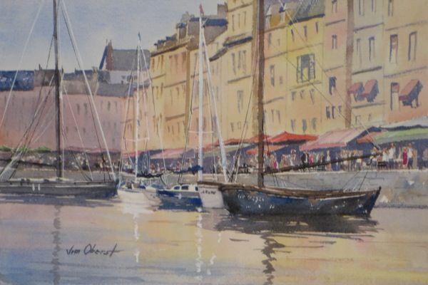 Jim Oberst Watercolor Honfleur Normandy Arte De Acuarela Arte