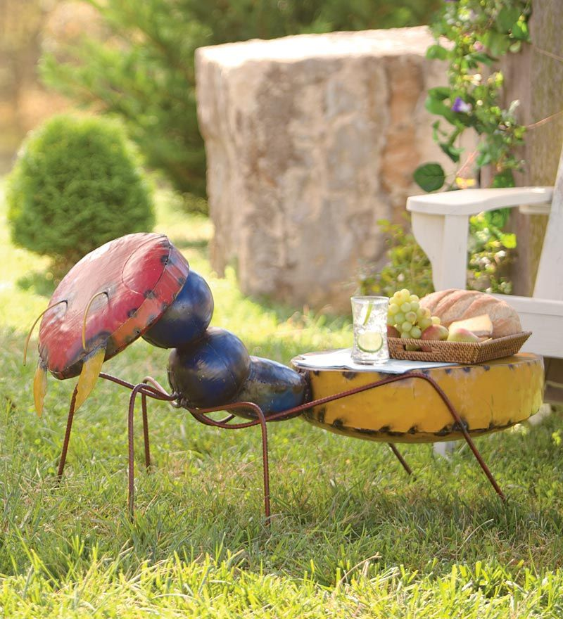 Reclaimed Metal Ant Side TableI just love this yard art \u003c3