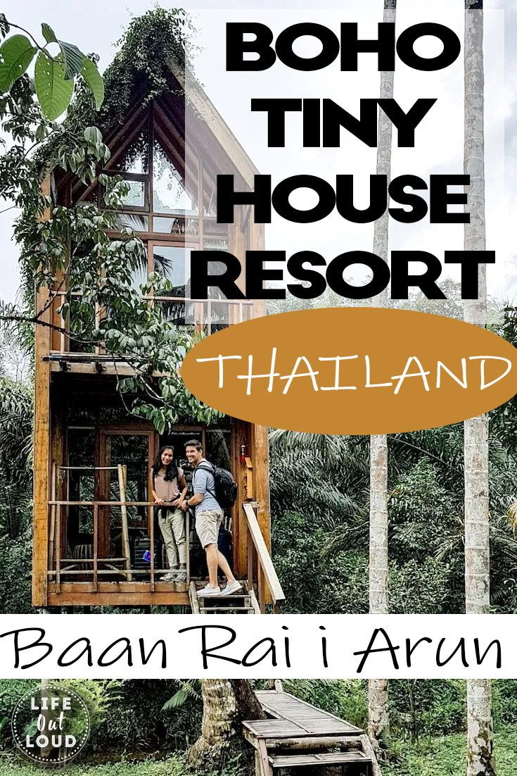 What a truly unique place to stay in Ranong, Baan Rai I Arun is a village of tiny houses and treehouses, all part of an eco resort in Ranong Thailand! Tiny house living while on holiday in paradise! This eco resort also has an organic farm and an amazing restaurant! A one of a kind experience in Ranong Thailand! #baanraiiarun #ranong #ranongthailand #tinyhouse #tinyhouses #ecoresort #ecoresortthailand #organicfarm #organicfarmthailand #bohostyle #treehouse #treehouseresort #treehousethailand