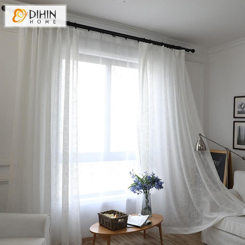 Dihin Home Natural Cotton Linen White Striped Sheer Curtain