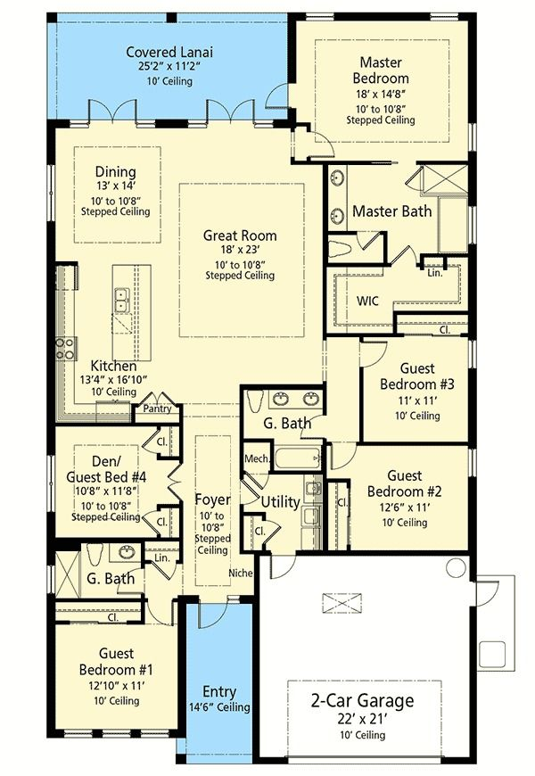 Plan 33176zr 4 Or 5 Bed Energy Saving House Plan House Plans One Story Southern House Plans One Story Homes