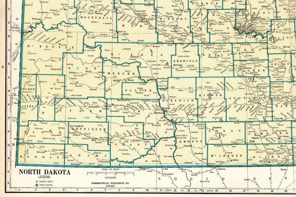 Antique NORTH DAKOTA State Map Vintage 1931 Rare Size Map of ...