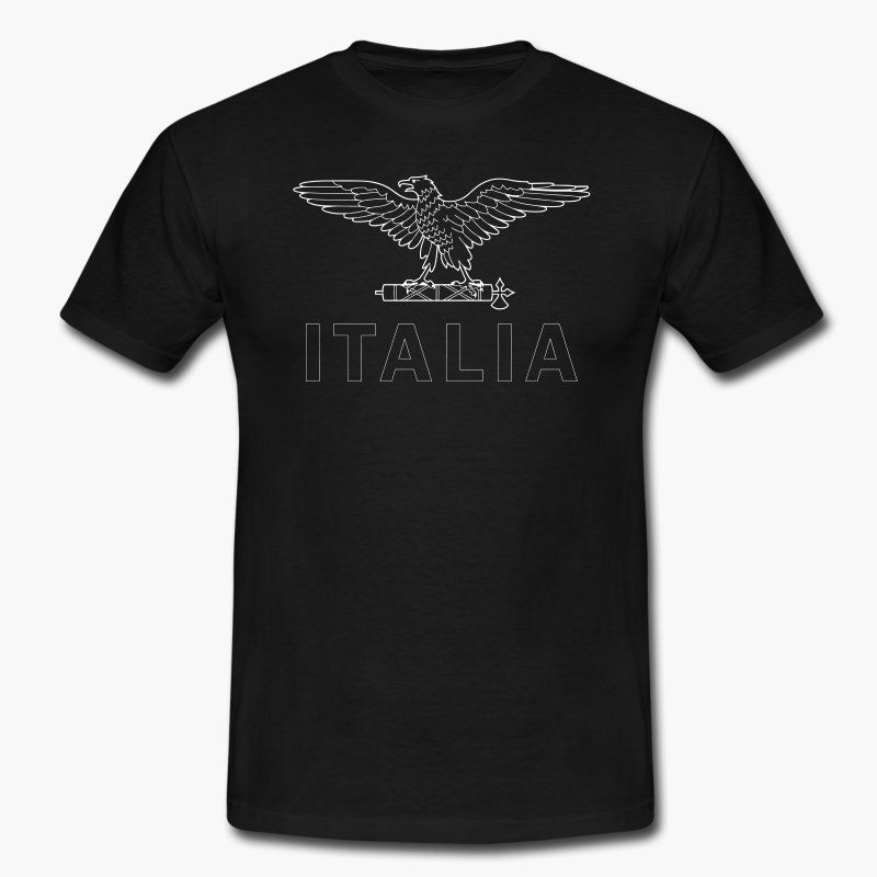 """Just another Italy t-shirt but with a twist (A RSI eagle emblem on top of the text """"Italia""""). Tags: RSI, Italia, fascism, fascist, Mussolini, Salo republic, Italy https://shop.spreadshirt.fi/revolt-noir/""""rsi italia""""-A106381477?appearance=2"""