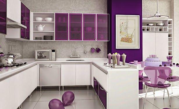 akrilik beyaz mor mutfak dolapları modelleri