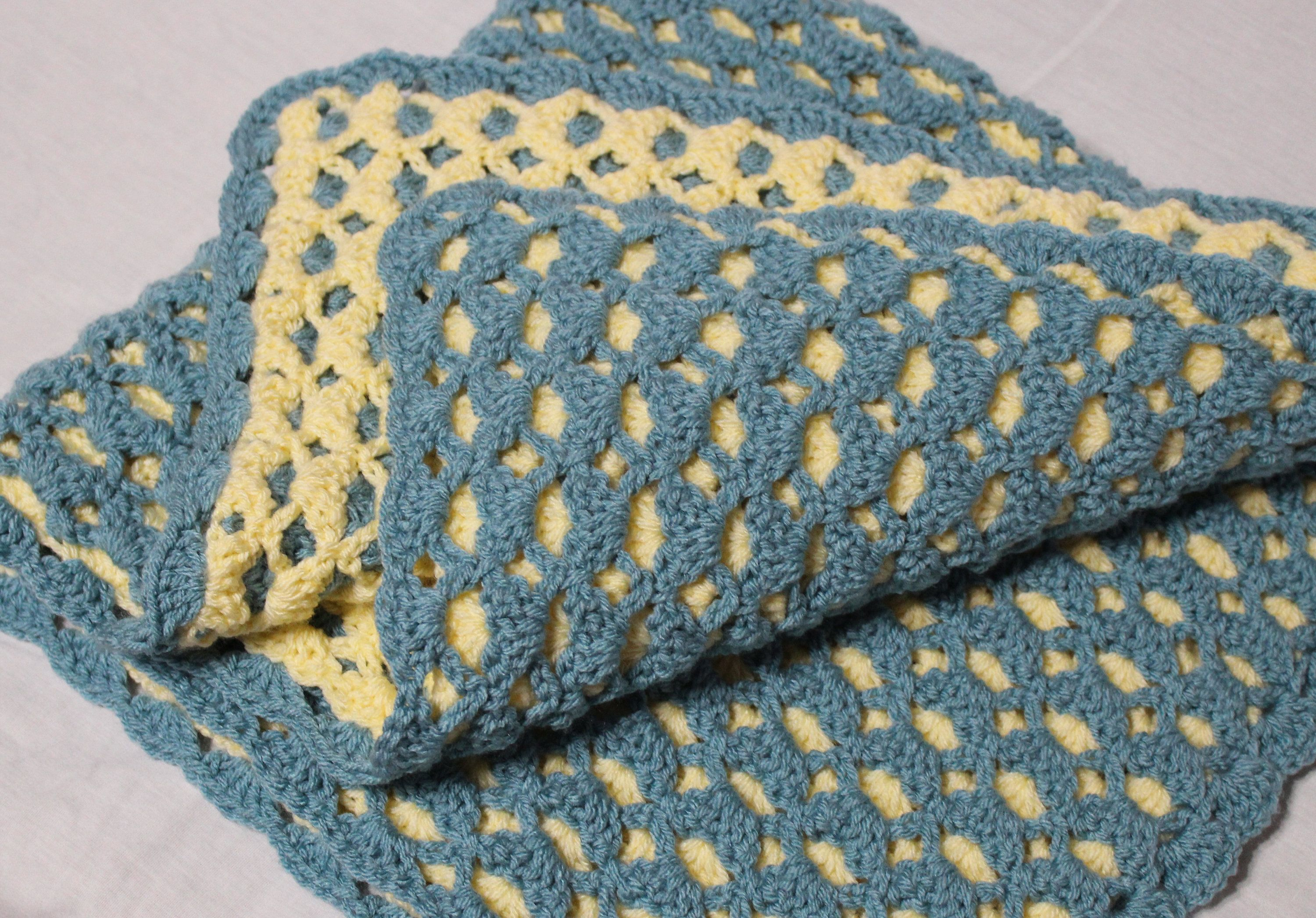 Reversible Crochet Baby Blanket Sea Blue And Yellow