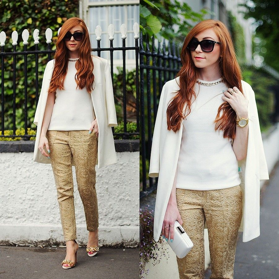 Erika Fox - White Jacket, White Top, Gold Pants, Sunglasses, More ...