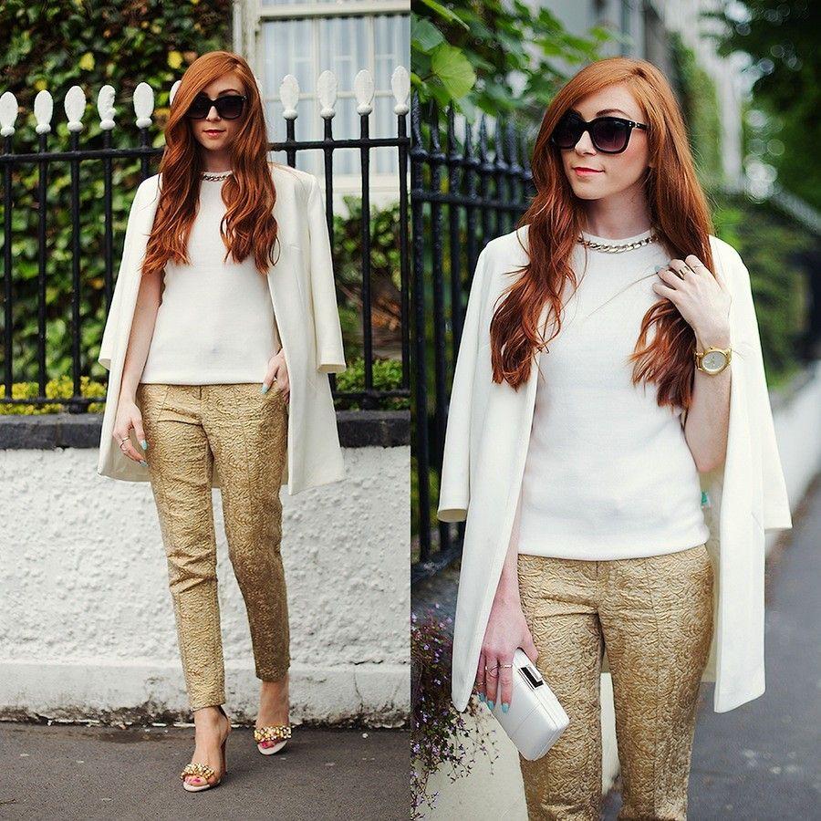 Erika Fox - White Jacket, White Top, Gold Pants, Sunglasses, More ...