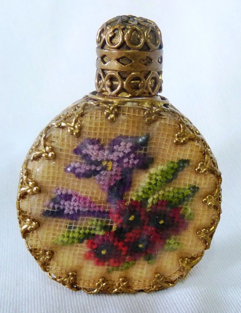 VINTAGE EMBROIDERY PETIT POINT MINIATURE PERFUME BOTTLE. I HAVE MORE!