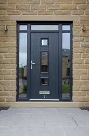 Dormer Bungalow Black Upvc Door With Side Panels Front Door Design Contemporary Front Doors Front Entry Doors
