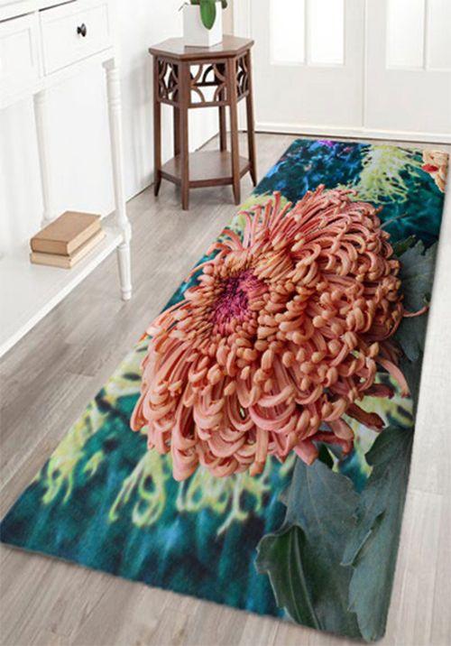 Natural Chrysanthemum Stamens Print Floor Rug