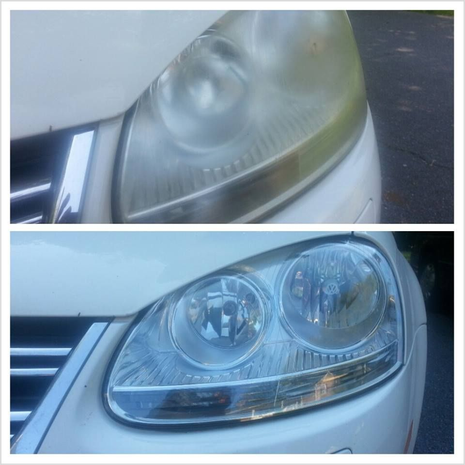 Professional headlight restoration (before and After