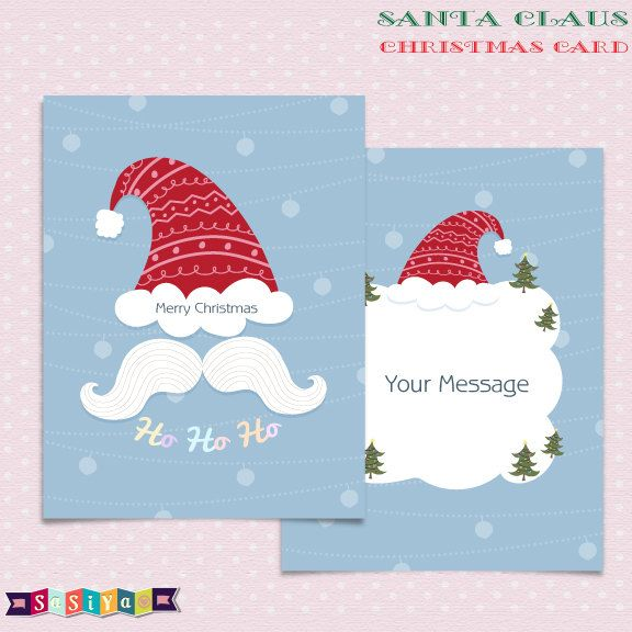 Cute Santa Claus Christmas Card Template A5 Design Digital Clip Art Decorations Ws462 Buy 1 Get 1 Free Christmas Card Template Christmas Colors Christmas Cards