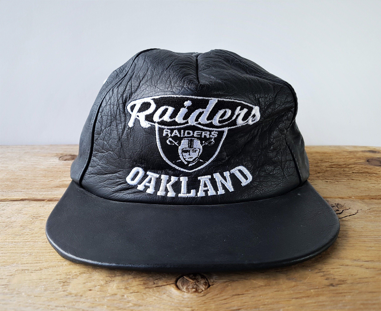 Vintage Oakland Raiders Genuine Leather Strapback Hat Nfl Football Rare Old School Touch Fastener Cap Retro Bal Strapback Hats Oakland Raiders New Era Snapback