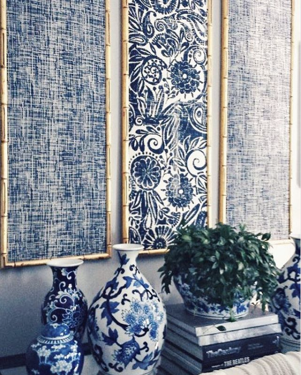 Blue And White Framed Fabric Panels Blueandwhite Interiordecorating Interieur Blank Walls Living