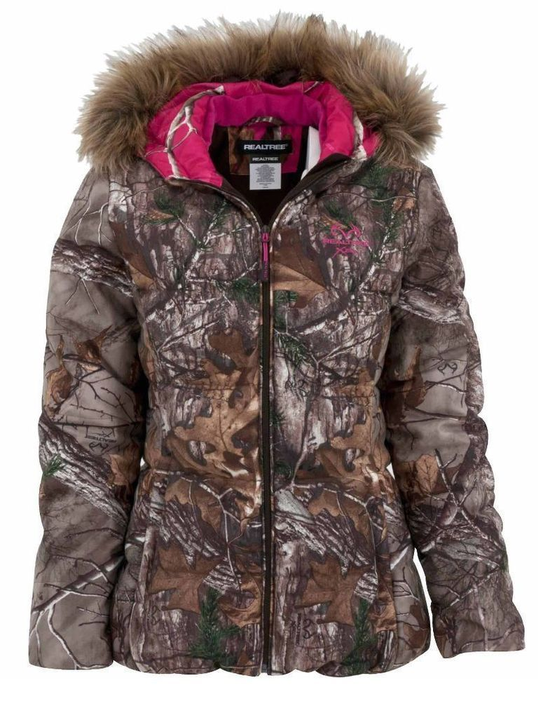 a4b99fcb34518 NWOT REALTREE Xtra Camo Bubble Jacket Removable Faux Fur Hood Hot Pink 2XL  Or L #Realtree #PufferJacket #Outdoor