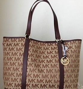 eaa27edcccf6 Michael Kors ~ Summer ** XL Tote MK Logo Signature Jacquard/Leather **Brown  NWT