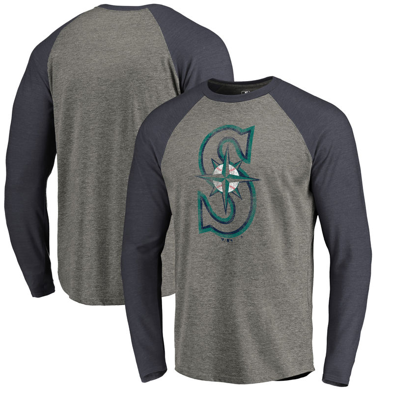 new product 08292 4380a Seattle Mariners Fanatics Branded Distressed Team Big   Tall Long Sleeve  Tri-Blend Raglan T-Shirt - Gray Navy