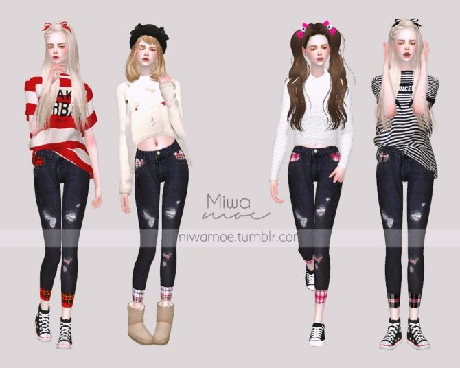 Skinny Jeans with Plaid Detail at Miwamoe • Sims 4 Updates