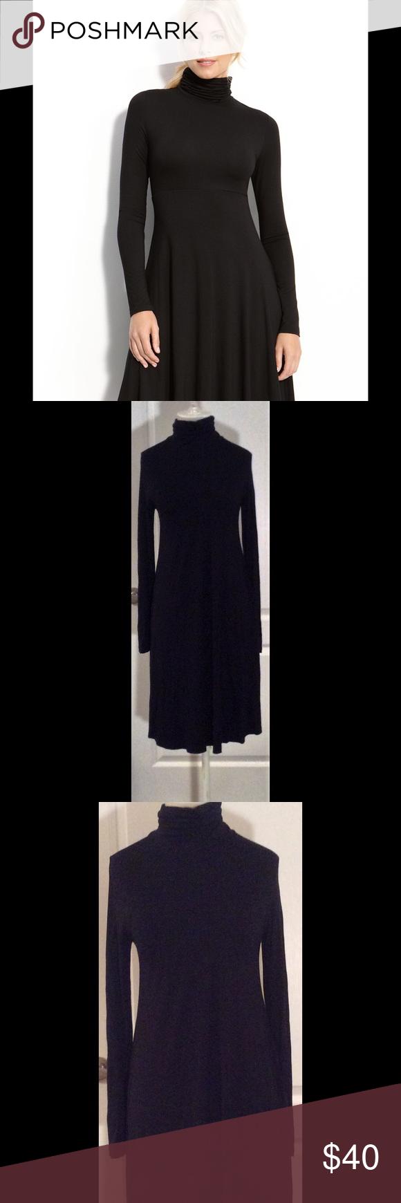 Karen kane black longsleeved turtleneck dress formflattering black