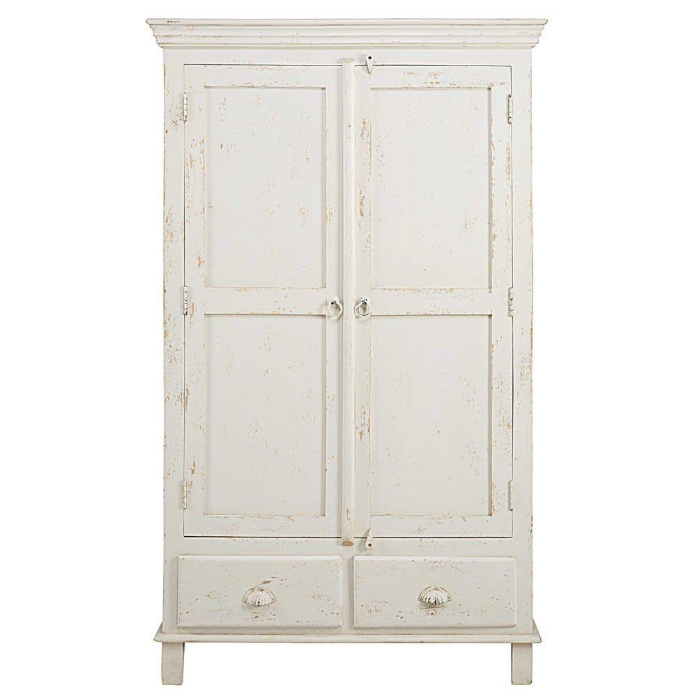 Armoire 2 Portes 2 Tiroirs En Manguier Blanc Patine Maisons Du Monde In 2020 Wood Wardrobe Furniture Shop Mango Wood