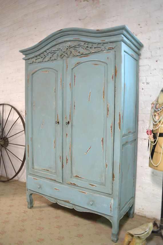 French Armoire Painted Cottage Chic Shabby By