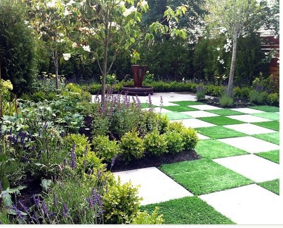 Checker Board Lawn Backyard I Absolutely Love This Maybe With A Darker Grey Stone Though Small Yard Landscaping Landscape Design Garden Design
