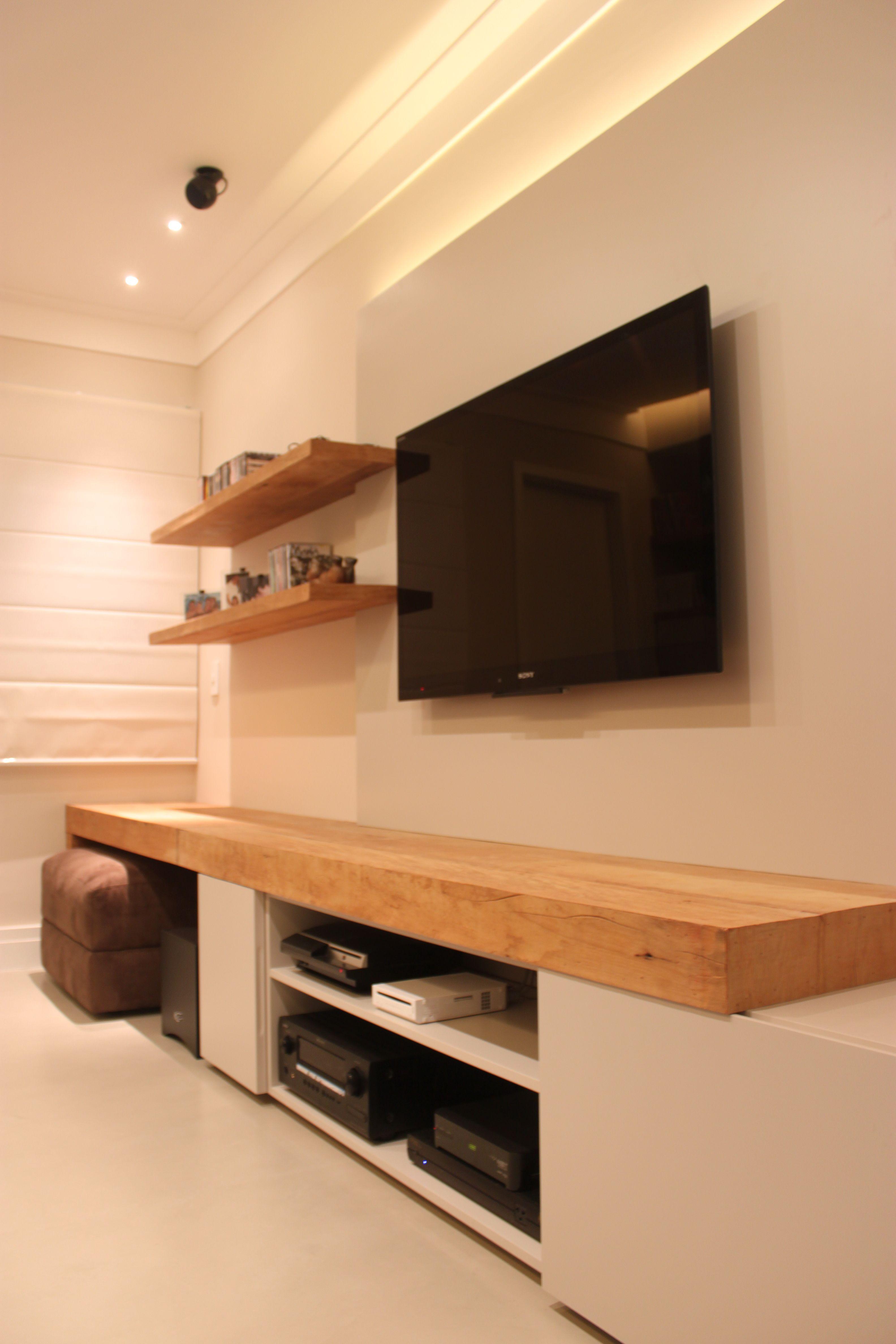 Home Theaters 40 Projetos De Casapro Para Voc Ter Um Cinema Em  # Table Tv Design Coin