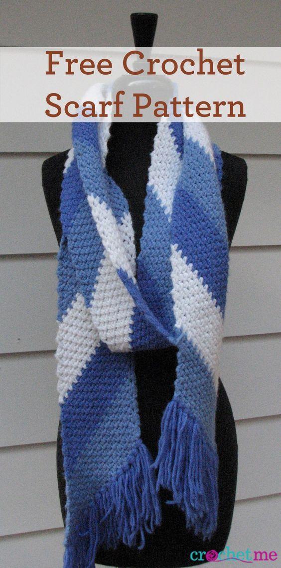 Simple Striped Scarf Pattern Crochet Pinterest Crochet