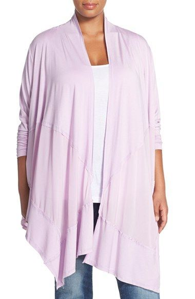 Melissa McCarthy Seven7 Mixed Media Waterfall Cardigan (Plus Size ...