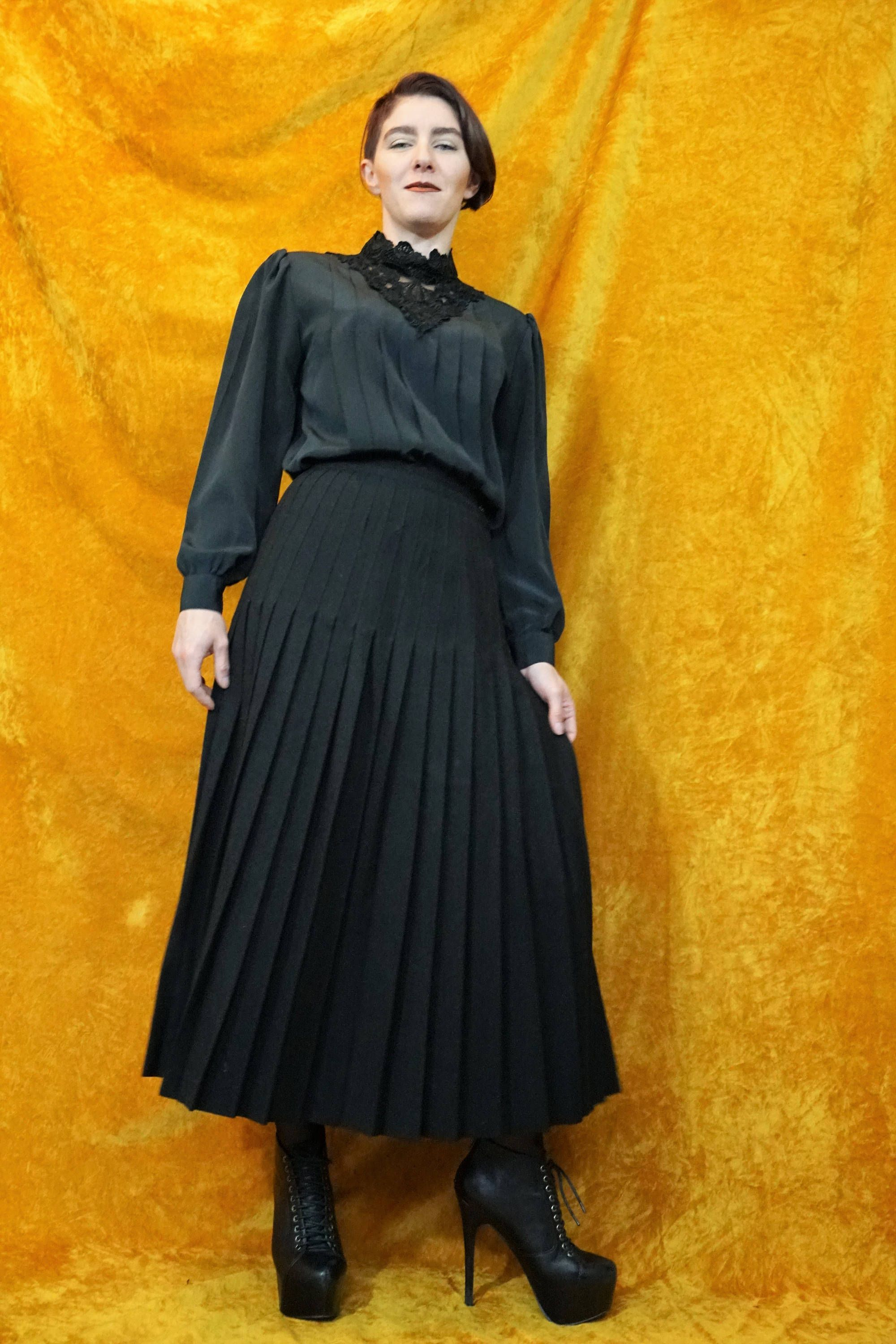 d06a1b80a107b Black Gothic Blouse with Pleated Bodice & Lace Turtleneck Collar ...