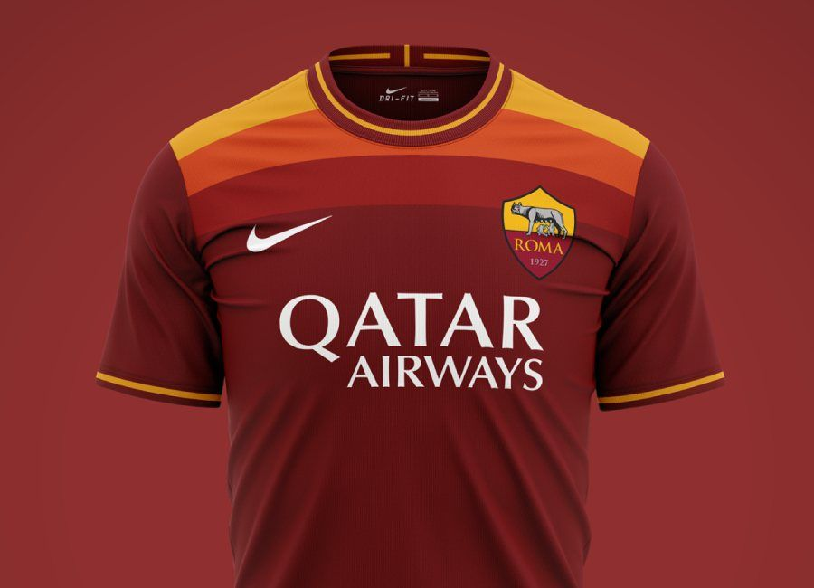 As Roma 2020 21 Home Kit Prediction Asroma Forzaroma Roma Fkddesign In 2020 As Roma Sports Jersey Design Sports Shirts
