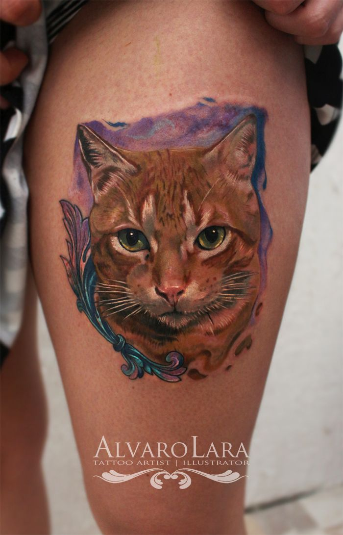 Tattoo By Alvaro Lara Realistic Cat Tattoo And Like Omg Get Some Yourself Some Pawtastic Adorable Cat Apparel Cat Tattoo Designs Cat Tattoo Animal Tattoos