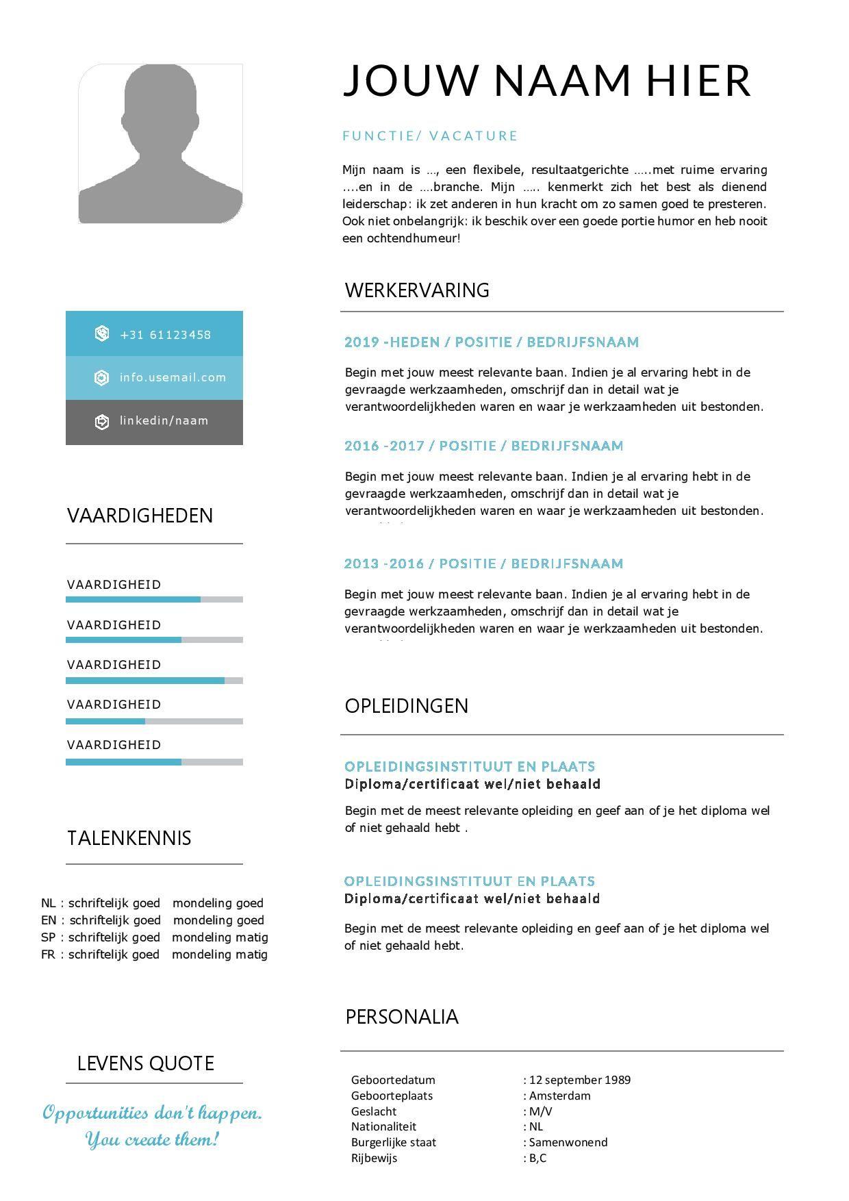 CV template met passend sollicitatiebrief in Word Cv