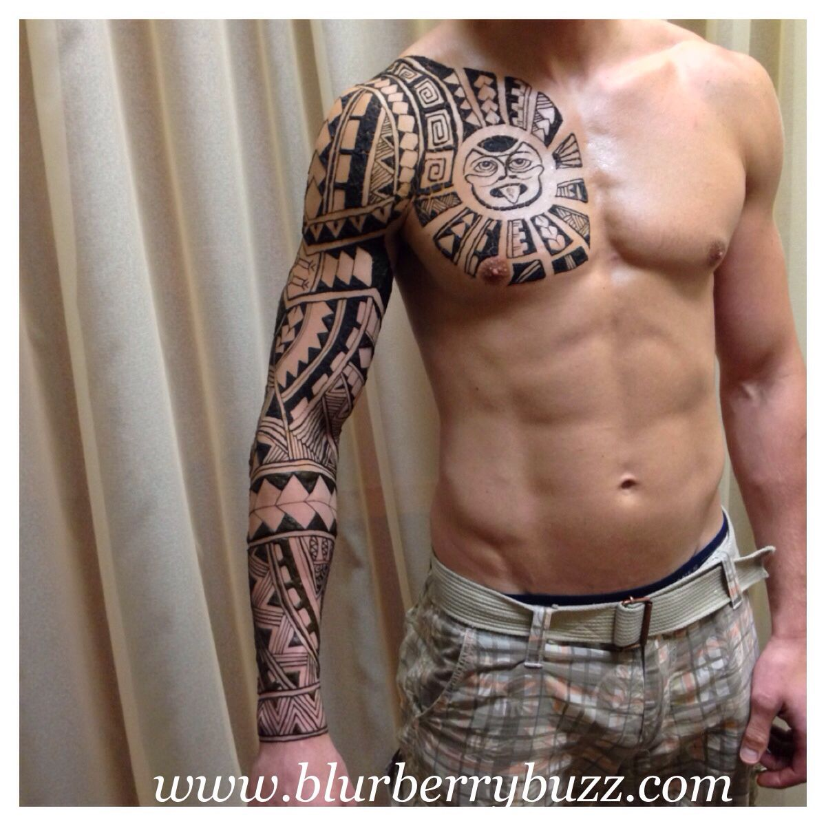 Male Henna Tattoos: Pasifika Style Henna. This Image Is With The Henna Paste