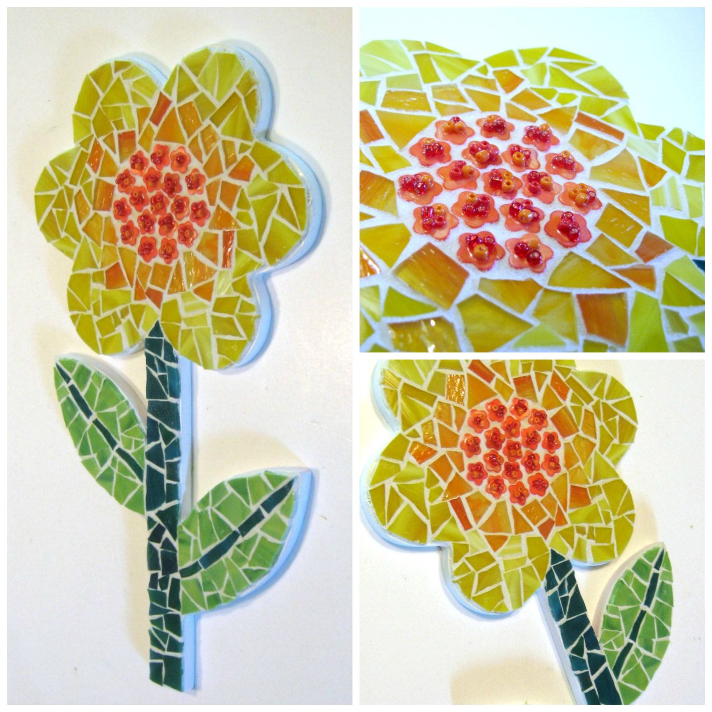 Mosaic Flower Wall Art Yellow Green Mosaic Flower Flower Art Plaque ...
