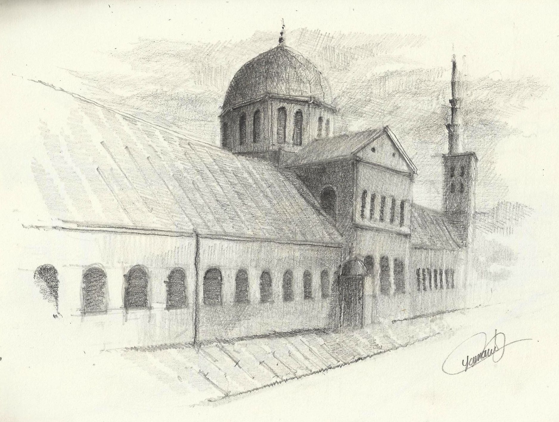 The umayyad mosque damascus syria pencil drawing using h hb