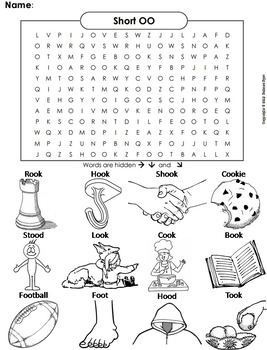 Short Oo Vowel Team Phonics Worksheet Digraphs Word Search