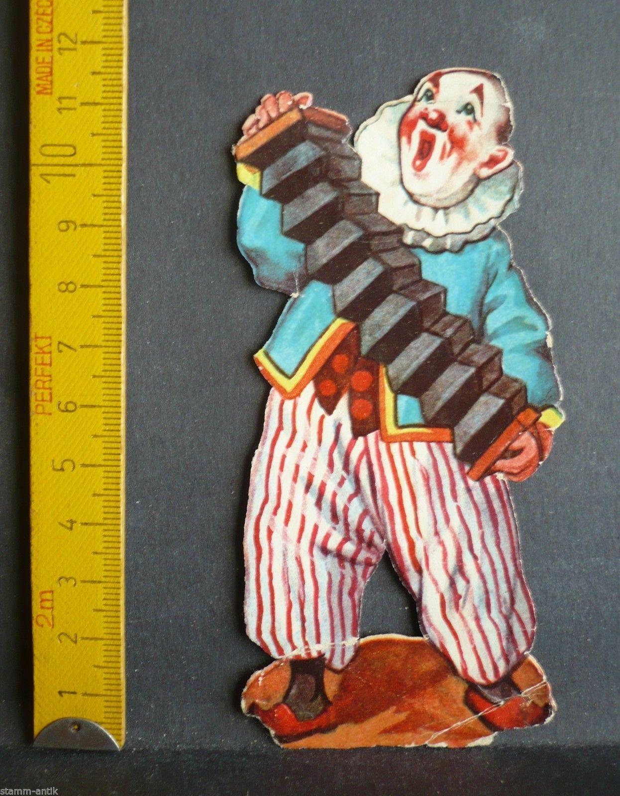 Clown mit Ziehharmonika,alte Oblate,Glanzbilder,Stammbuchbild in Sammeln & Seltenes, Büro, Papier & Schreiben, Papier & Dokumente | eBay