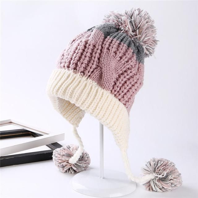 2017 Cotton Ball Kawaii Winter Knitted Hats For Women Crochet Cute ...