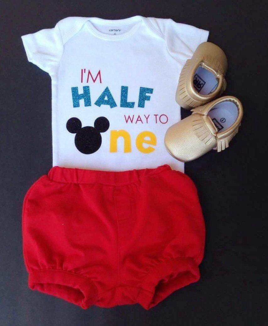 1e18dc0e5 Half way to One, halfway to one Mickey, 6 month birthday, baby birthday