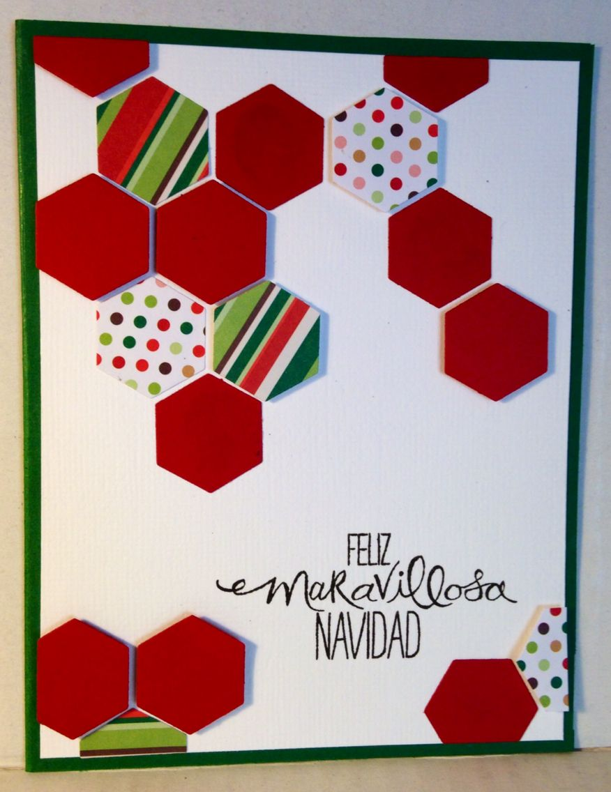 Hexagon framelits - Stampin up christmas handmade card by Angelica ...