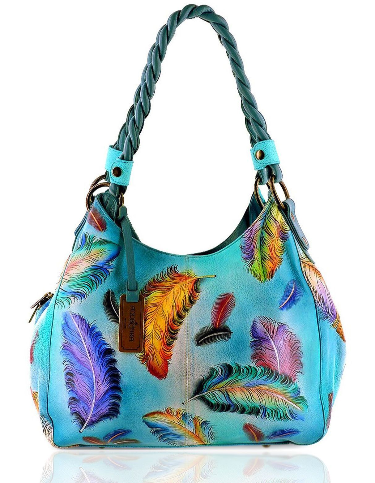 9c9dae02e9 Anuschka™ 3- Compartment Leather Shopper w Braided Handles-Floating Feathers