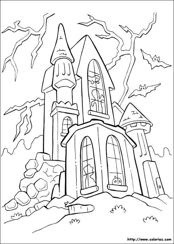 maison hantee halloween dessin