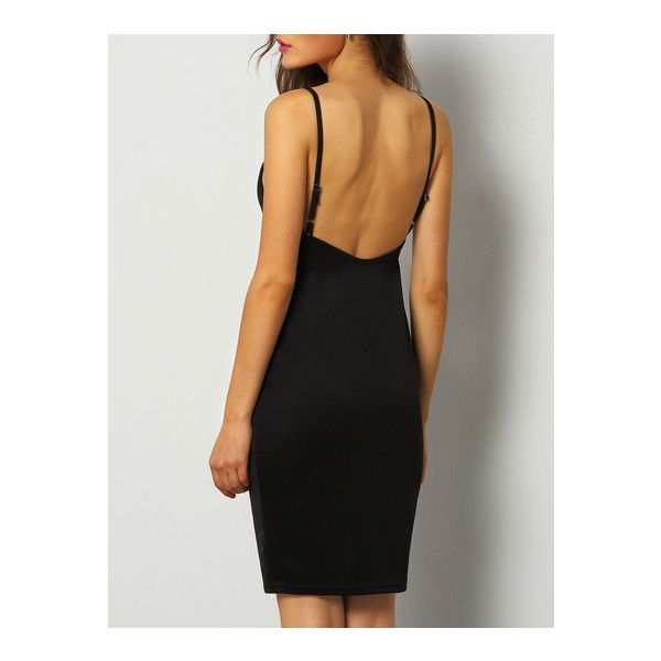 SheIn(sheinside) Black Spaghetti Strap Backless Bodycon Dress (€10) ❤ liked on Polyvore featuring dresses, black, long cocktail dresses, backless dress, long black dress, bodycon dress and black sleeveless dress