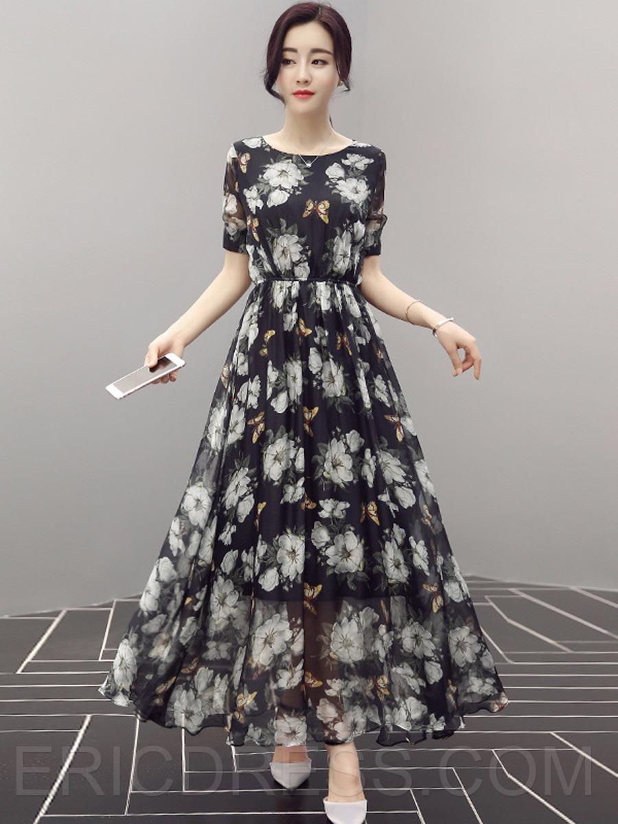Ericdress flower print round neck short sleeve maxi dress