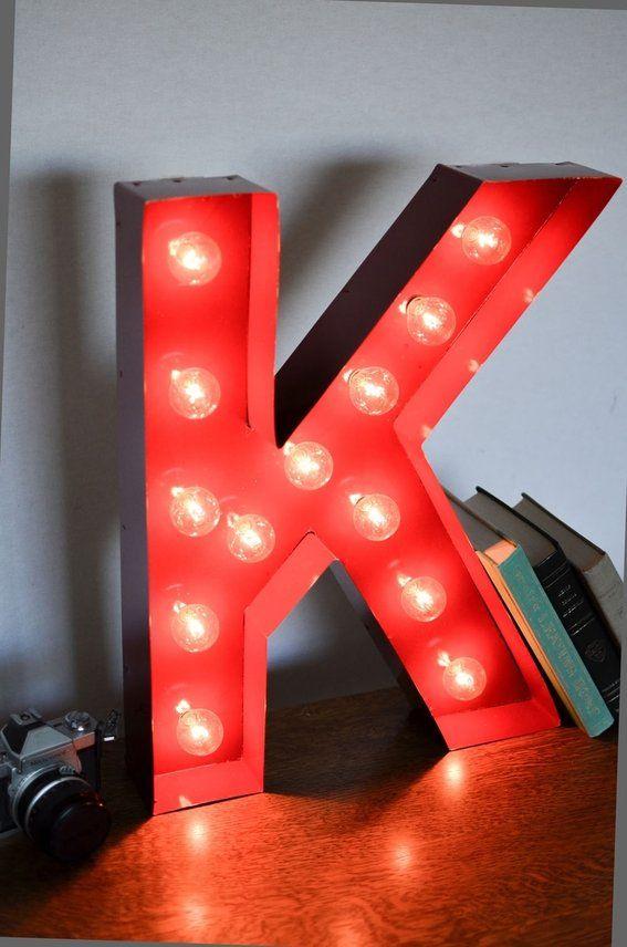 Vintage Inspired Marquee Light Letter K Color Fire Engine Lighted Marquee Letters Lettering Letter K
