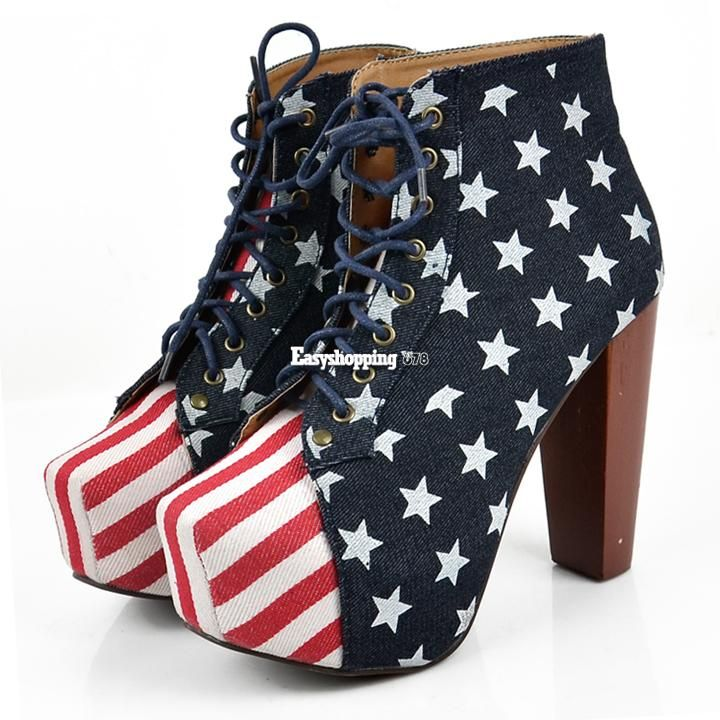 Vogue Women's US Flag Platform Boots Chunky Heel New Wood Sole Lace-Up Shoe